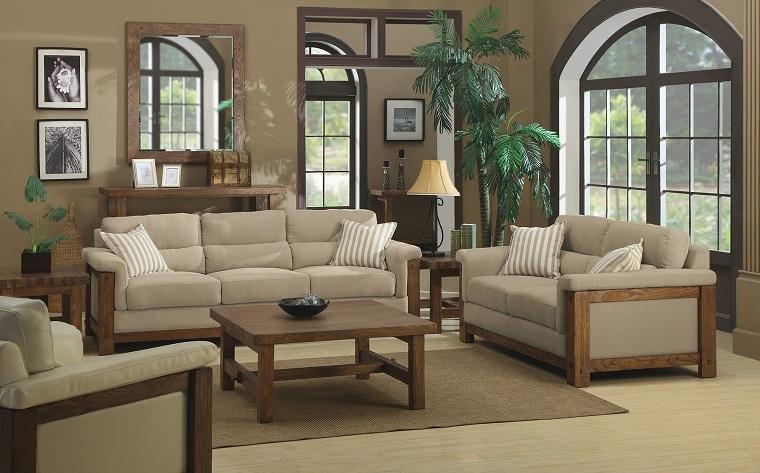 stile rustico soggiorno divani struttura legno cuscini beige