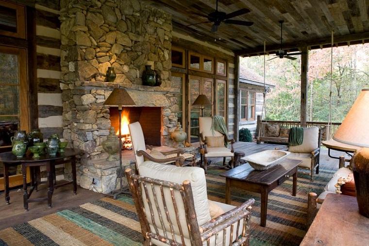 veranda design rustico camino mobili legno