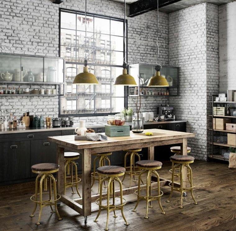 abbinamento mobili moderni e antichi tavolo da pranzo in legno cucina industriale