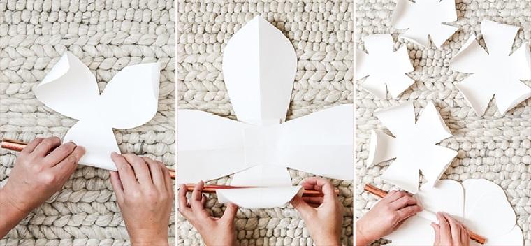addobbi pasquali fai da te arrotolare petalo di carta su un rullo di metallo