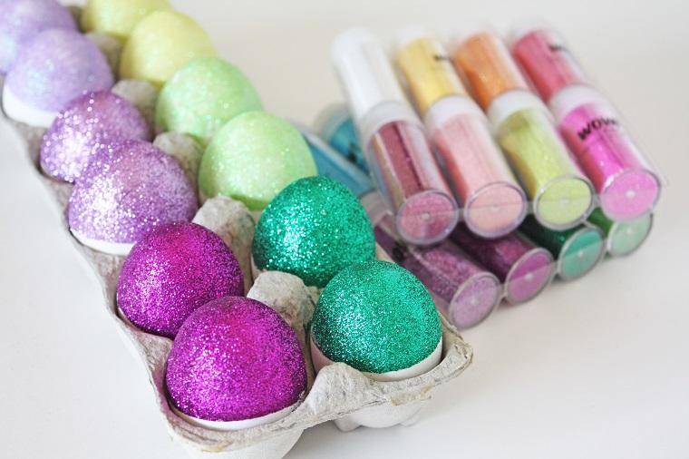 addobbi pasquali fai da te uova glitter