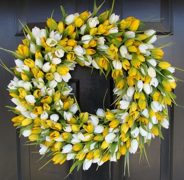 addobbi primavera tulipani bianchi gialli