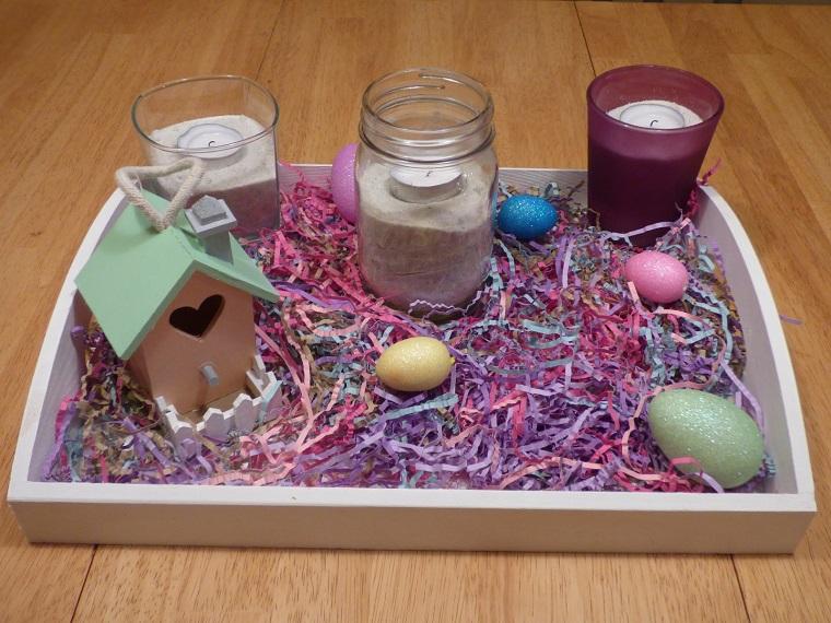addobbi primavera vassoio uova casetta