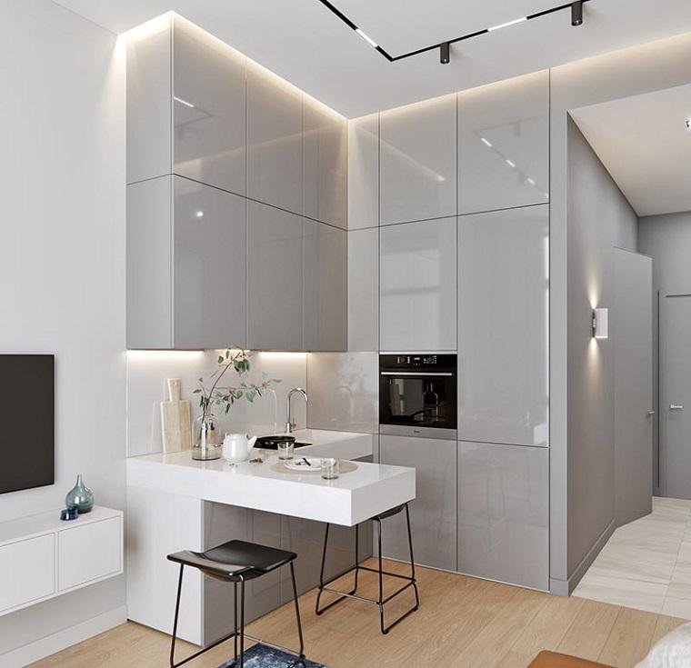 andrey karasev photography cucine ad angolo mobili di colore bianco grigio lucido