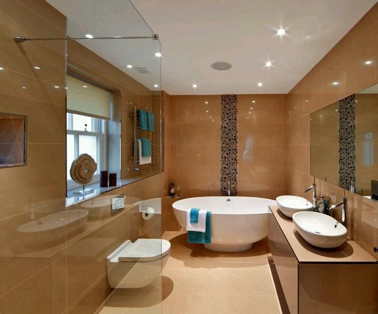 arredamento bagno stile moderno vasca forma rotonda