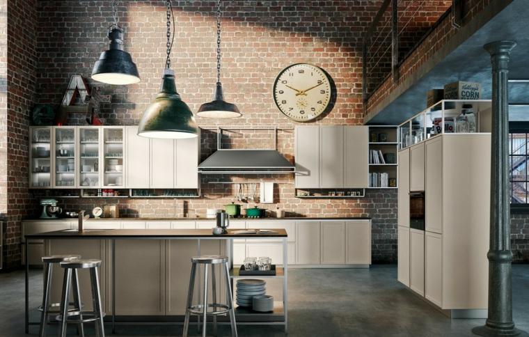 arredamento cucina loft finta parete con mattoni a vista mobili in legno di colore chiaro