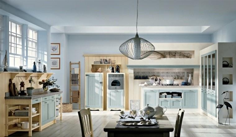 arredamento cucina stile campagna idea pareti bianche lampadario