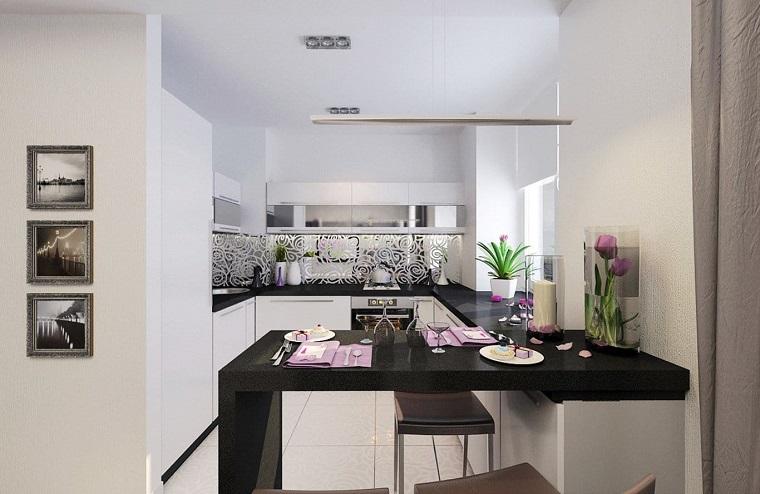 arredamento cucina stile moderno penisola nera design
