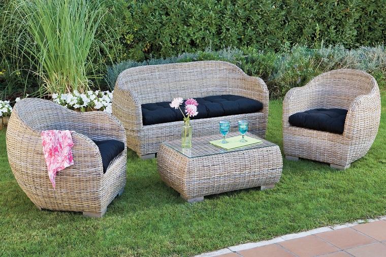 arredamento giardino set mobili vimini
