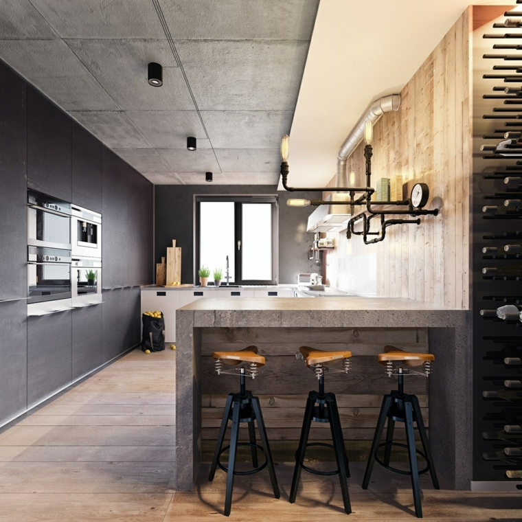 arredamento industriale moderno isola laterale come tavolo da pranzo mobili di colore grigio