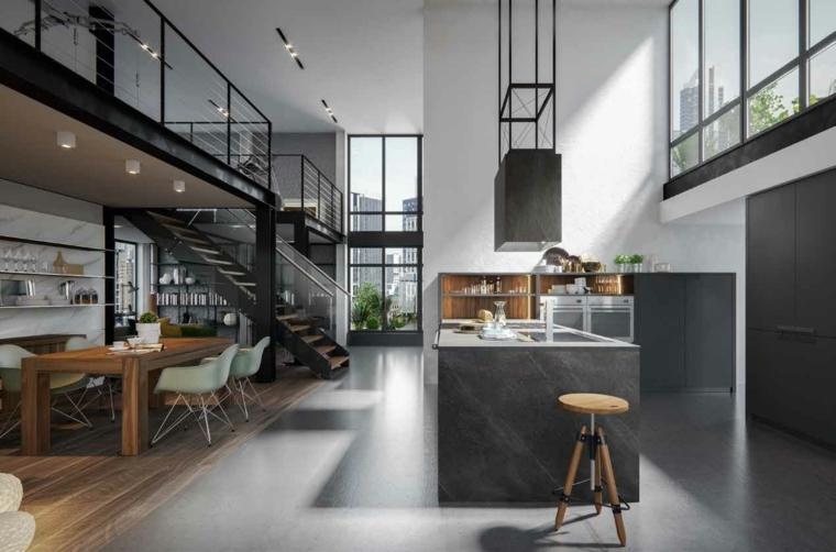 arredamento industriale moderno open space con mobili di colore grigio