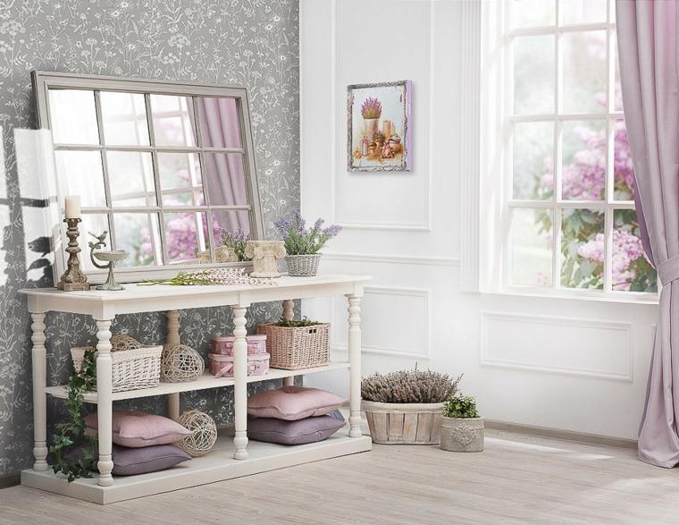 arredamento ingresso casa mobile di legno design provenzale con ripiani