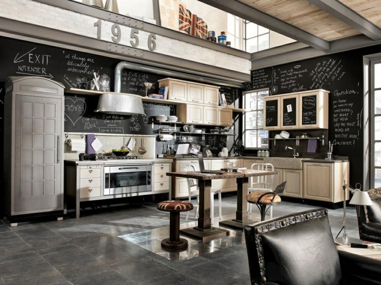 arredamento loft cucina con mobili in legno tavolo da pranzo con sgabelli