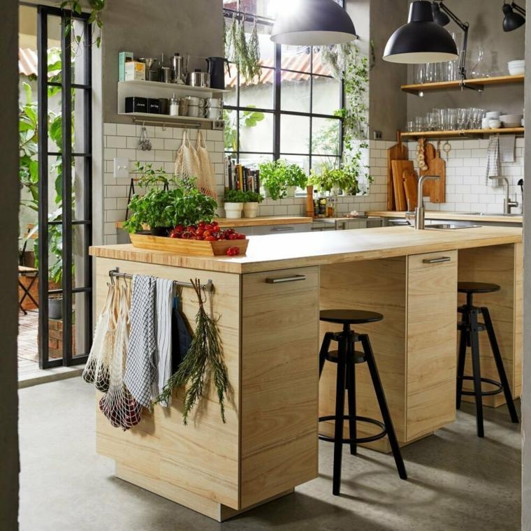 arredamento misto moderno e antico isola cucina come tavolo da pranzo