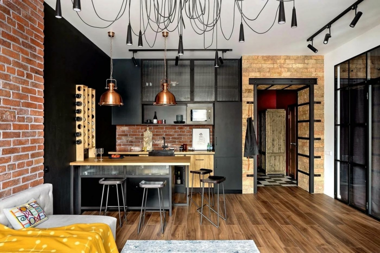 arredamento misto moderno e antico parete con mattoni a vist open space cucina e soggiorno