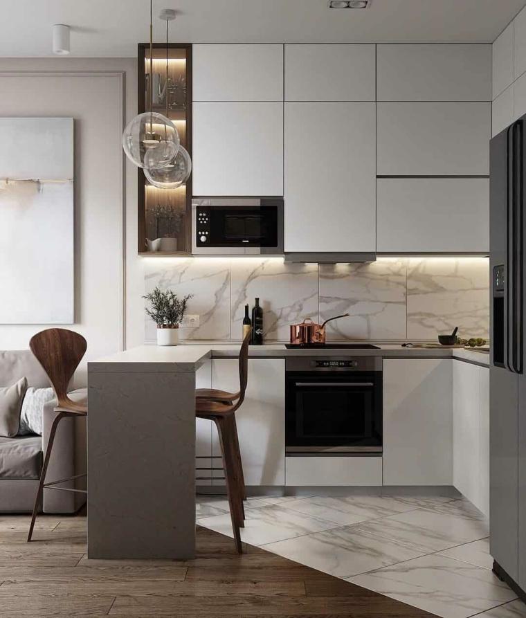 arredamento piccola cucina nordica pavimento combinato legno piastrelle