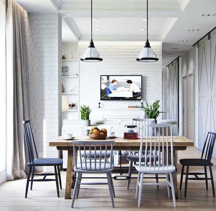 arredamento provenzale sala da pranzo con tavolo di legno parete bianca effetto mattoni