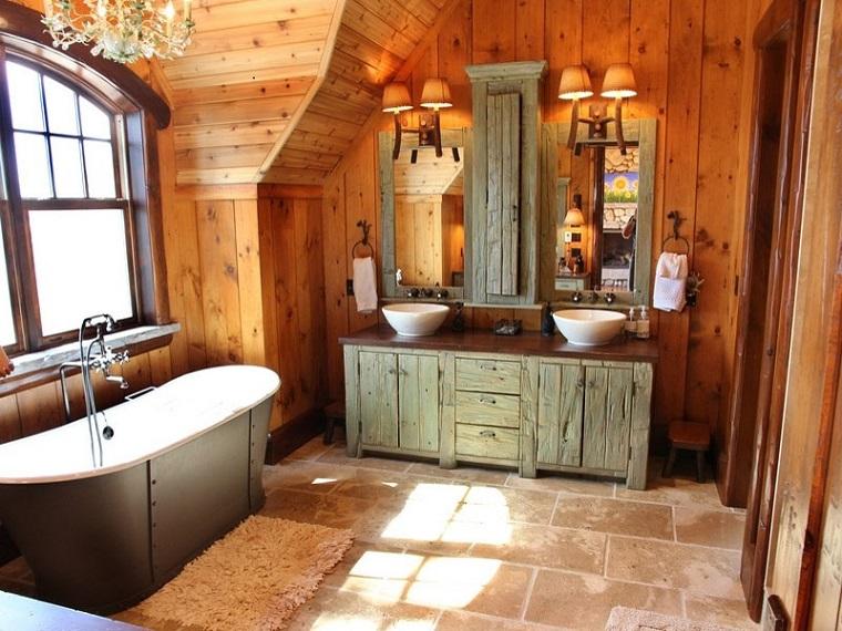 arredamento rustico bagno pareti legno