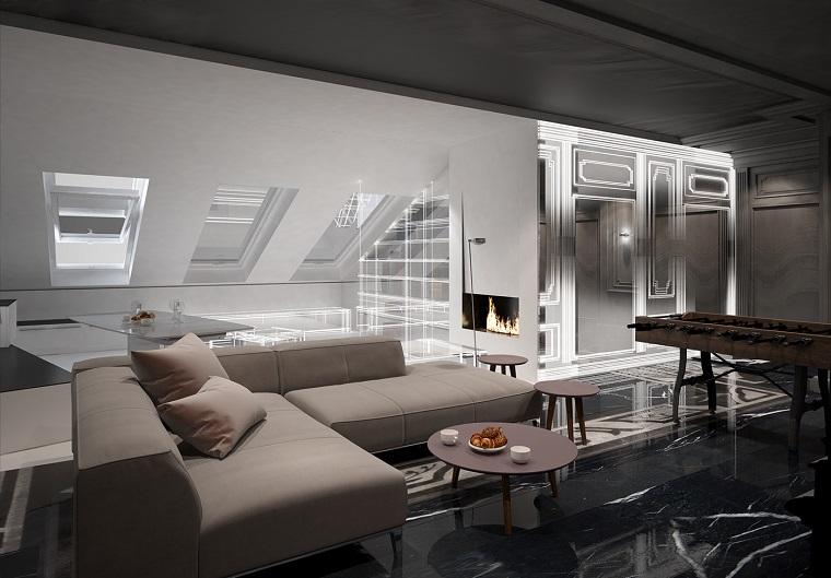 arredamento soggiorno avanguardia divano grigio