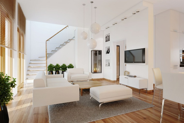 arredamento soggiorno mobili colore bianco pavimento legno