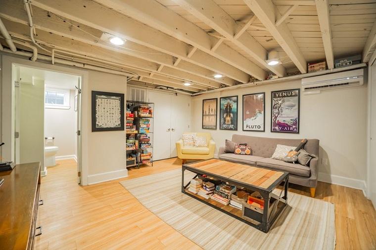 arredamento soggiorno mobili stile contemporaneo soffitto design industriale pavimento legno