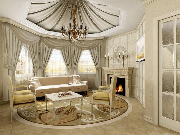 arredamento soggiorno stile classico lampadario originale camino
