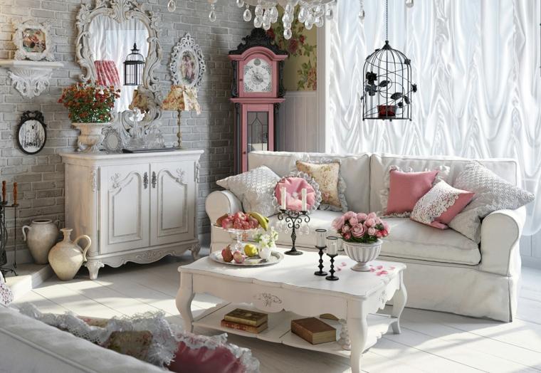 arredamento soggiorno stile provenzale divano con cuscini colorati