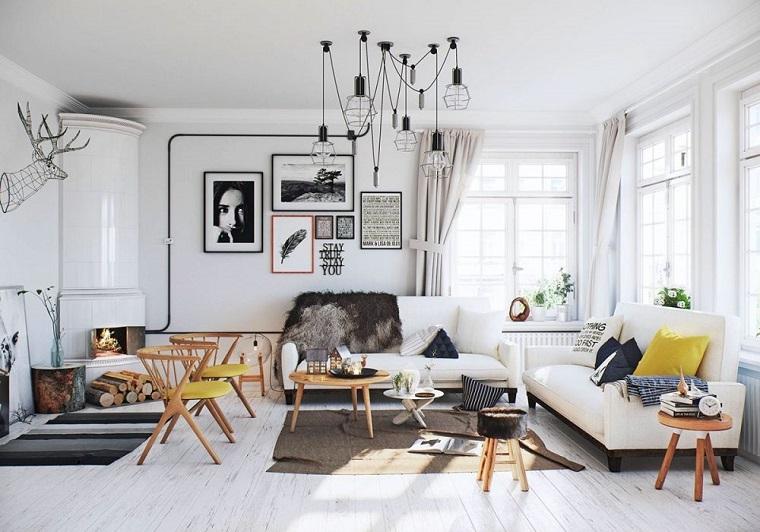 arredamento soggiorno stile scandinavo lampadario design