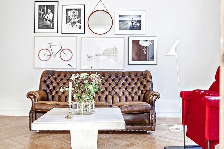 arredamento stile nordico divano pelle