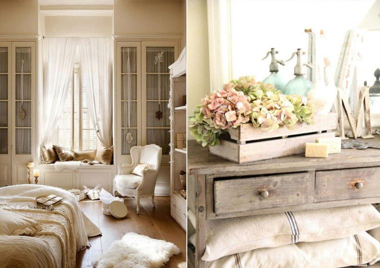 arredamento stile provenzale camera da letto mobile di legno con cassetta di fiori