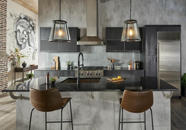 arredamento urban industrial cucina con isola centrale con lavandino arredo con sgabelli alti