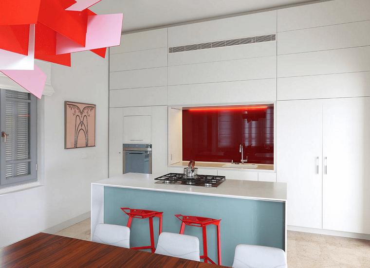 arredamento minimalista cucina lampadario particolare design