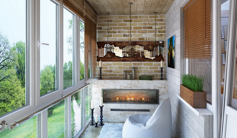 arredare balcone modo adorabile camino esterno lampadari