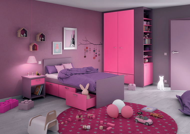 arredare cameretta stile moderno pareti viola design