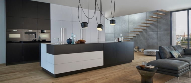 arredare casa moderna cucina bianco nero lampadario