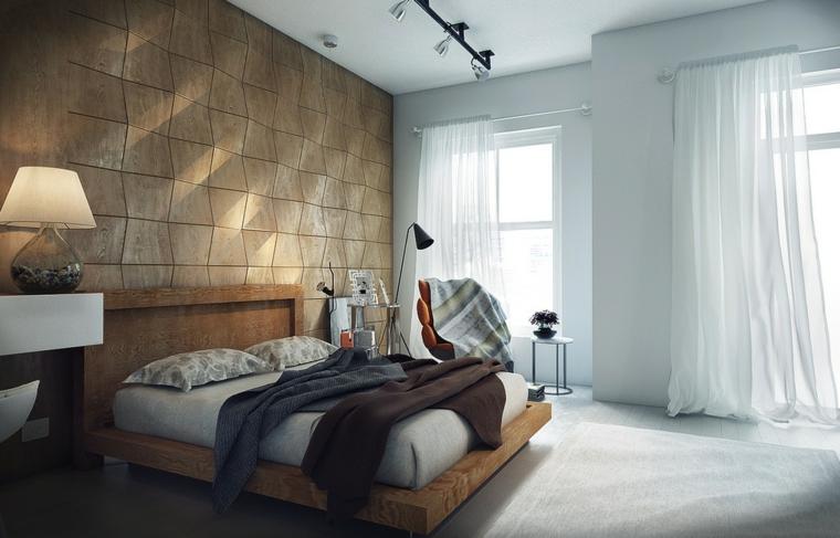 arredare casa moderna zona notte elegante parete decorata