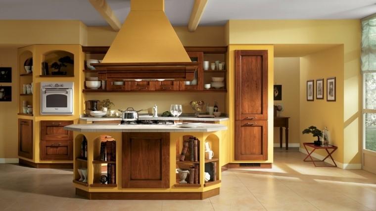 arredare cucina stile country accenti colore giallo