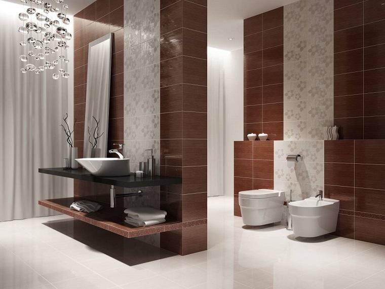arredare il bagno mobili moderni parete piastrelle