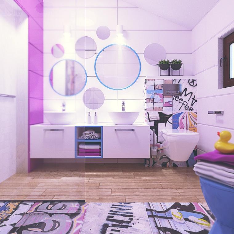 arredare il bagno pavimento legno tanti colori