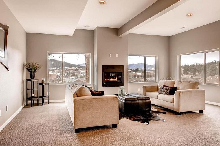 arredare salotto mobili stile contemporaneo divano tessuto