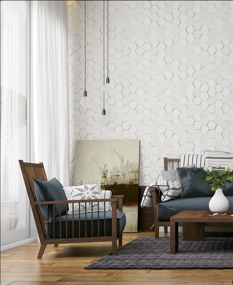 arredare soggiorno set mobili legno tappeto grigio lampadario
