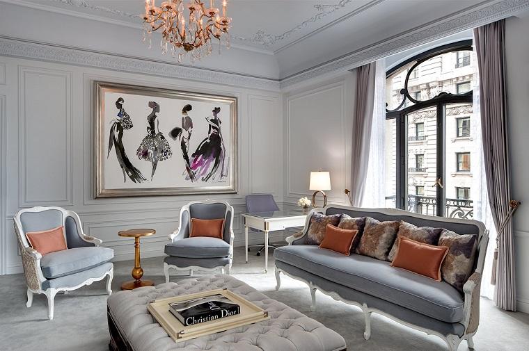 arredare soggiorno stile classico mobili colore grigio