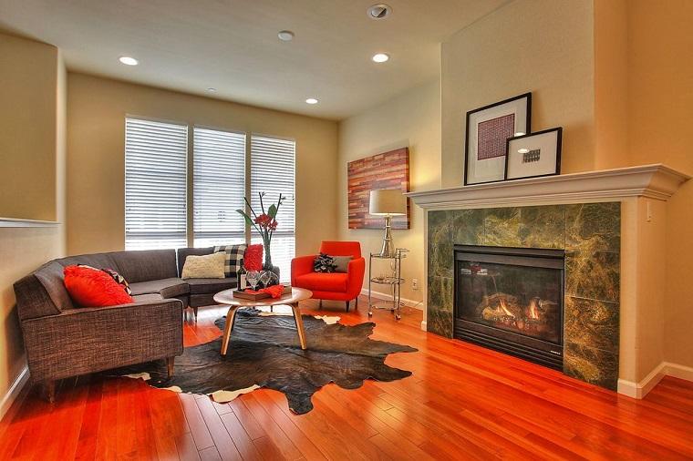 arredare soggiorno stile contemporaneo pavimento legno