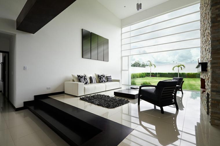 arredare soggiorno stile moderno design bianco nero