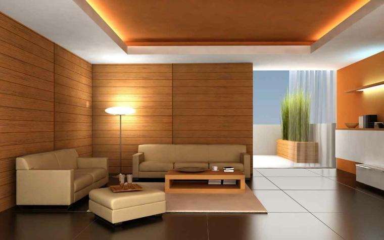 arredare soggiorno stile moderno pareti legno