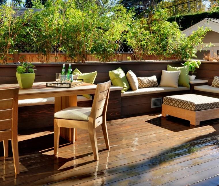 arredare terrazzo idea mobili legno