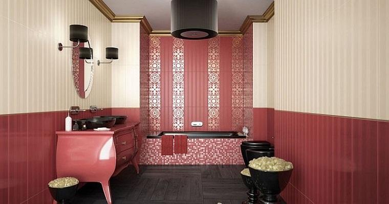 arredo bagno mobili legno colore rosa