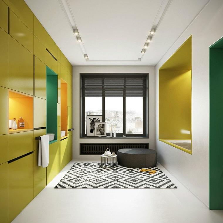arredo bagno mobili moderni pareti colore giallo