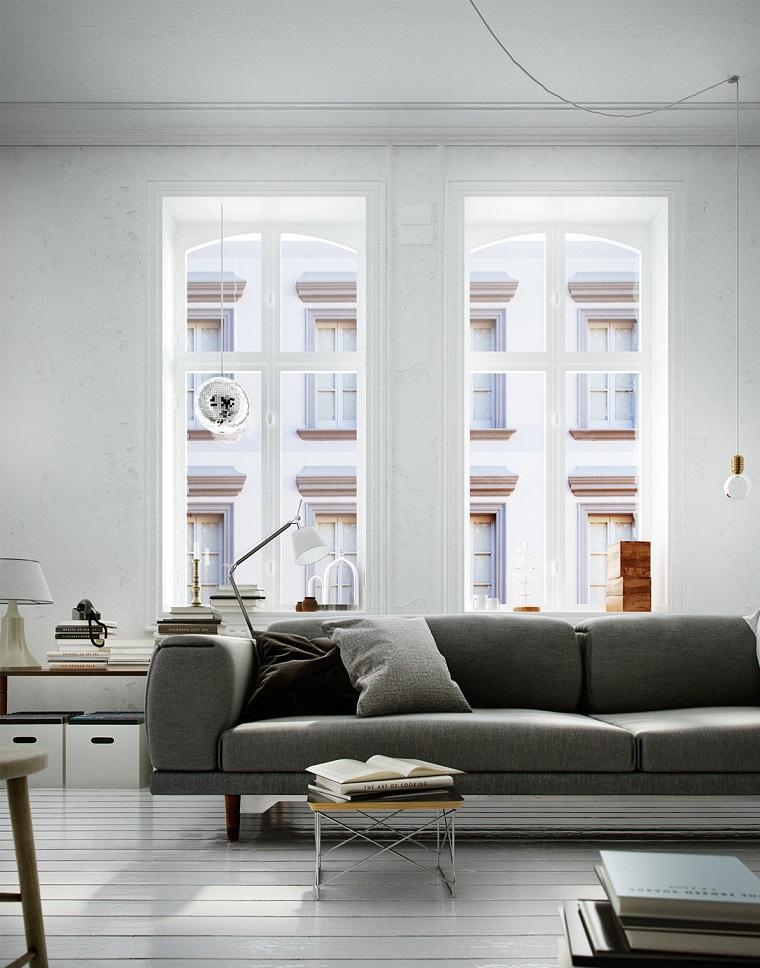 arredo contemporaneo zona living divano colore grigio