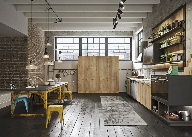 arredo cucina design industriale pavimento legno
